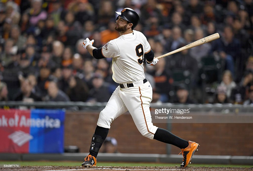 <a gi-track='captionPersonalityLinkClicked' href=/galleries/search?phrase=Brandon+Belt&family=editorial&specificpeople=7513394 ng-click='$event.stopPropagation()'>Brandon Belt</a> #9 of the San Francisco Giants bats against the San Diego Padres in the bottom of the seventh inning at AT&T Park on May 23, 2016 in San Francisco, California.