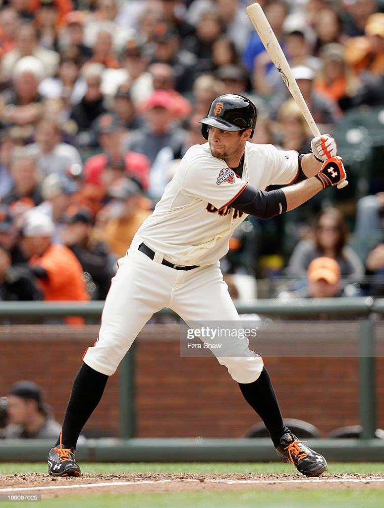 <a gi-track='captionPersonalityLinkClicked' href=/galleries/search?phrase=Brandon+Belt&family=editorial&specificpeople=7513394 ng-click='$event.stopPropagation()'>Brandon Belt</a> #9 of the San Francisco Giants bats against the St. Louis Cardinals at AT&T Park on April 6, 2013 in San Francisco, California.