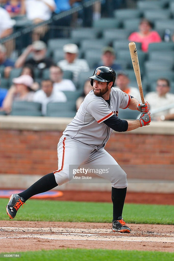 <a gi-track='captionPersonalityLinkClicked' href=/galleries/search?phrase=Brandon+Belt&family=editorial&specificpeople=7513394 ng-click='$event.stopPropagation()'>Brandon Belt</a> #9 of the San Francisco Giants in action against the New York Mets at Citi Field on August 4, 2014 in the Flushing neighborhood of the Queens borough of New York City. Giants defeated the Mets 4-3.