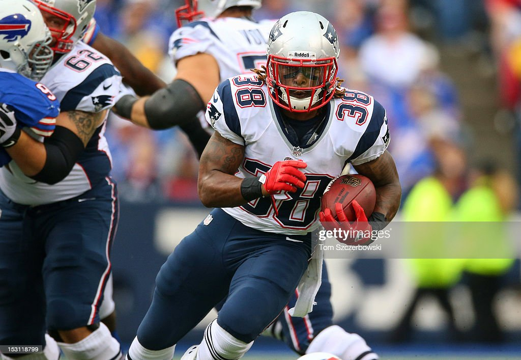 Brandon Bolden #38 of the New England Patriots carries the ball during an NFL game against the Buffalo Bills at Ralph Wilson Stadium on September 30, 2012 in Orchard Park, New York.