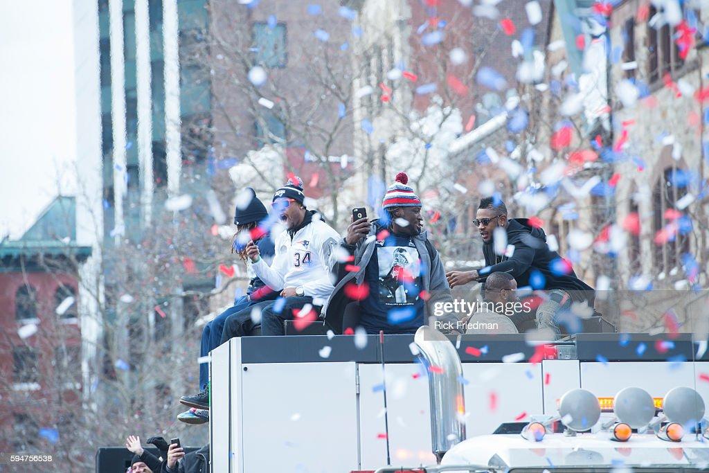 Brandon Bolden Shane Vereen LeGarrette Blount of the Super Bowl champion New England Patriots during the Super Bowl XLIX parade through the streets...