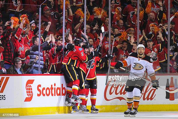 Brandon Bollig of the Calgary Flames celebrates his goal against the Anaheim Ducks in Game Three of the Western Conference Semifinals during the 2015...