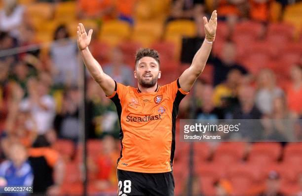 Brandon Borrello of the Roar celebrates scoring a goal during the round 27 ALeague match between the Brisbane Roar and the Wellington Phoenix at...