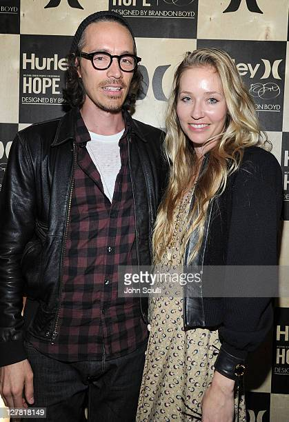 Brandon Boyd and Baelyn Meff attend the celebration of Hurley Fashion and art collaboration with Brandon Boyd to Benefit HOPE on March 24 2011 in...