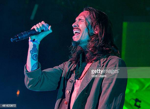 Brandon Boyd of Incubus performs during their tour opener at DTE Energy Music Theater on July 22 2015 in Clarkston Michigan