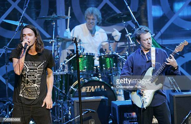Brandon Boyd of Incubus with Stewart Copeland and Andy Summers of the Police
