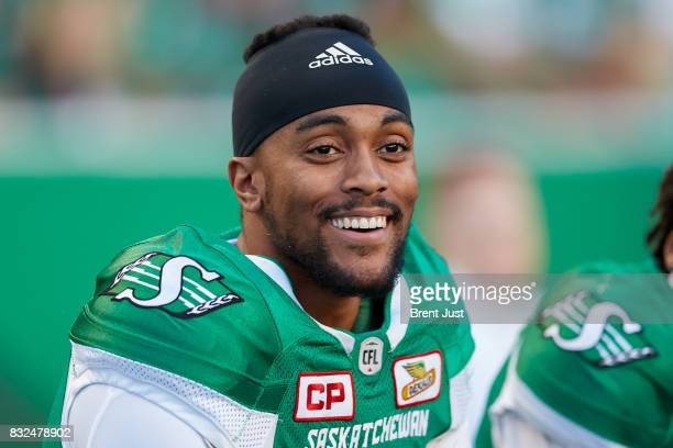 Brandon Bridge of the Saskatchewan Roughriders on the sideline during the game between the BC Lions and the Saskatchewan Roughriders at Mosaic...