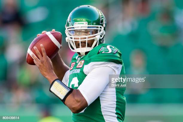 Brandon Bridge of the Saskatchewan Roughriders throws a pass in pregame warmup for the game between the Winnipeg Blue Bombers and Saskatchewan...