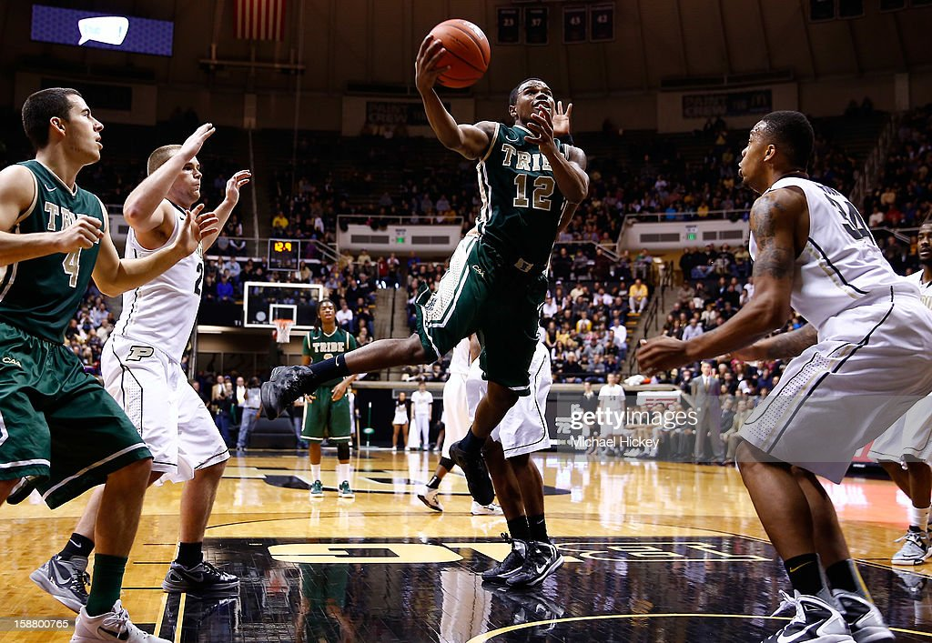 Brandon Britt #12 of the William & Mary Tribe shoots the ball in the lane against the Purdue Boilermakers at Mackey Arena on December 29, 2012 in West Lafayette, Indiana. Purdue defeated William & Mary 73-66.