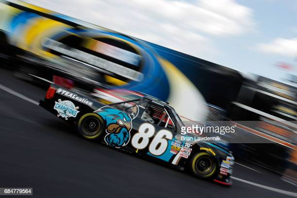 Brandon Brown driver of the Coastal Carolina University Chevrolet practices for the NASCAR Camping World Truck Series NC Education Lottery 200 at...