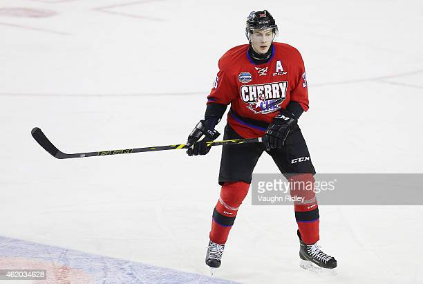 Brandon Carlo of Team Cherry skates during the 2015 BMO CHL/NHL Top Prospects Game against Team Orr at the Meridian Centre on January 22 2015 in St...