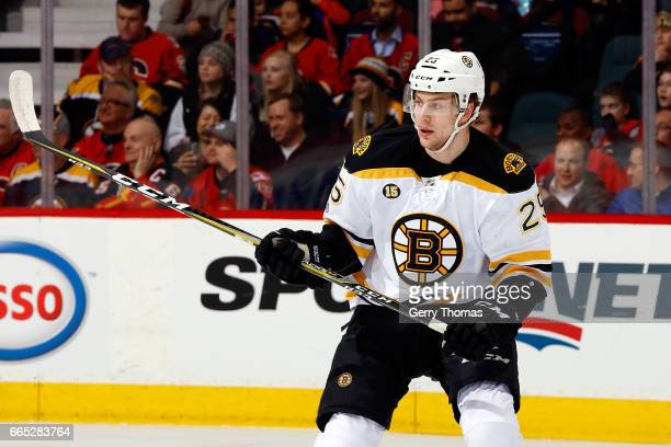 Brandon Carlo of the Boston Bruins skates against the Calgary Flames during an NHL game on March 15 2017 at the Scotiabank Saddledome in Calgary...