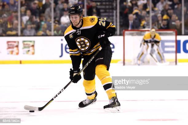 Brandon Carlo of the Boston Bruins skates against the Montreal Canadiens during the first period at TD Garden on February 12 2017 in Boston...