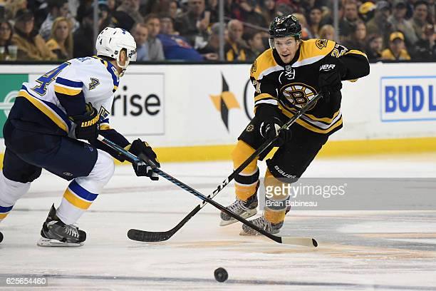Brandon Carlo of the Boston Bruins skates against the St Louis Blues at the TD Garden on November 22 2016 in Boston Massachusetts