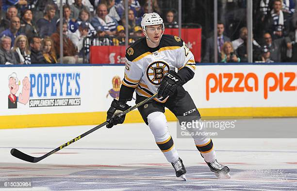 Brandon Carlo of the Boston Bruins skates against the Toronto Maple Leafs during an NHL game on October 15 2016 at the Air Canada Centre in Toronto...