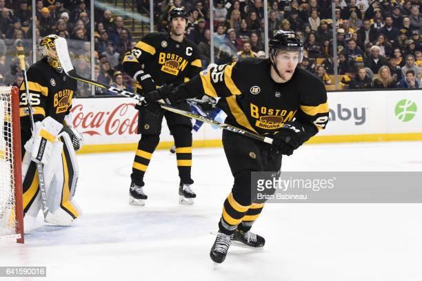 Brandon Carlo of the Boston Bruins skates against the Vancouver Canucks at the TD Garden on February 11 2017 in Boston Massachusetts