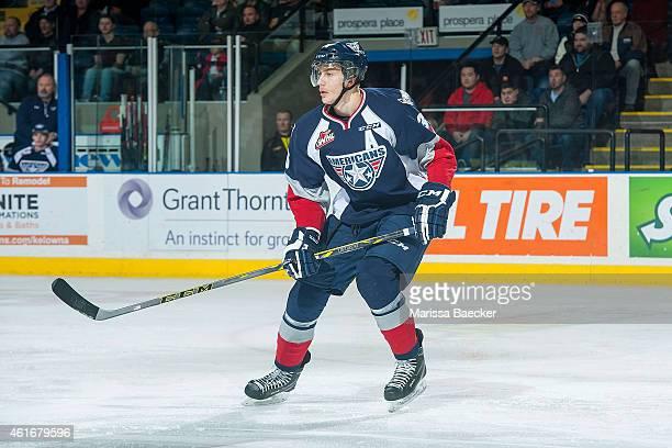 Brandon Carlo of Tri City Americans skates against the Kelowna Rockets on January 14 2015 at Prospera Place in Kelowna British Columbia Canada