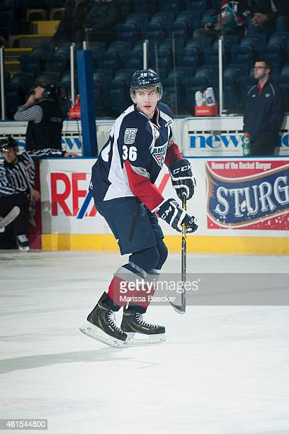 Brandon Carlo of Tri City Americans warms up against the Kelowna Rockets on January 14 2015 at Prospera Place in Kelowna British Columbia Canada