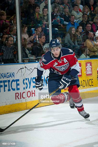 Brandon Carlo of TriCity Americans skates against the Kelowna Rockets on March 28 2015 at Prospera Place in Kelowna British Columbia Canada