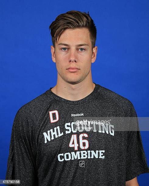 Brandon Carlo poses for a headshot at the NHL Combine at HarborCenter on June 3 2015 in Buffalo New York