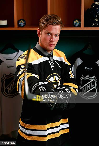 Brandon Carlo poses for a portrait after being selected 36th by the Boston Bruins during the 2015 NHL Draft at BBT Center on June 27 2015 in Sunrise...