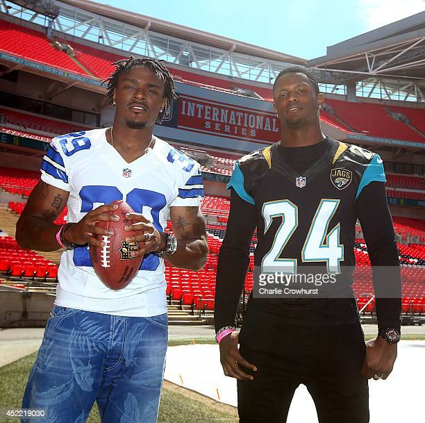 Brandon Carr of Dallas Cowboys poses for a photo with Will Blackmon of Jacksonville Jaguars during a NFL Media Day at Wembley Stadium on July 16 2014...