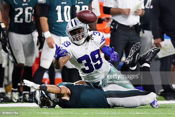 Brandon Carr of the Dallas Cowboys breaks up a pass during a game between the Dallas Cowboys and the Philadelphia Eagles at ATT Stadium on October 30...