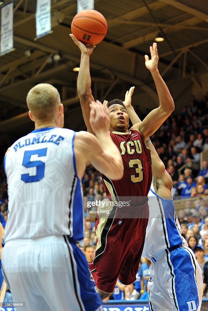 Brandon Clark #3 of the Santa Clara Broncos goes to the hoop against the Duke Blue Devils at Cameron Indoor Stadium on December 29, 2012 in Durham, North Carolina. Duke defeated Santa Clara 90-77.