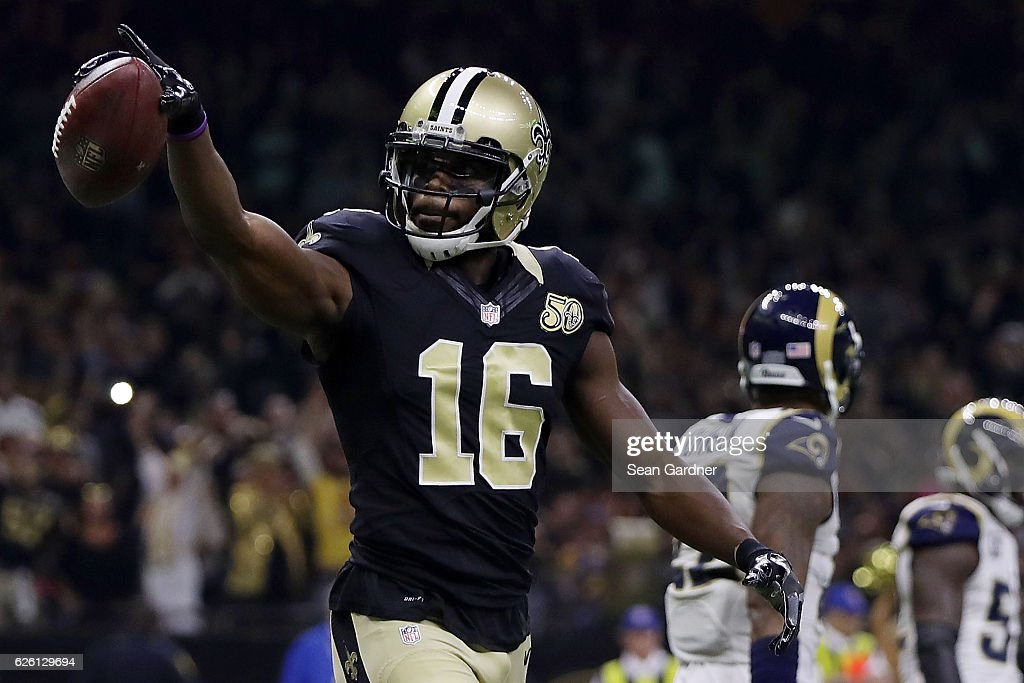 Brandon Coleman #16 of the New Orleans Saints celebrates a touchdown during the first half of a game against the Los Angeles Rams at the Mercedes-Benz Superdome on November 27, 2016 in New Orleans, Louisiana.