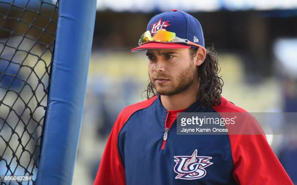Brandon Crawford of team United States is seen during batting practice prior to playing against team Puerto Rico during Game 3 of the Championship...