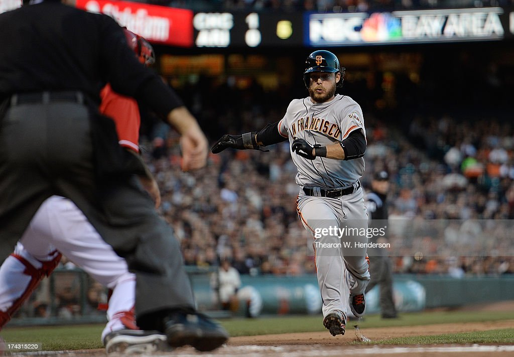 <a gi-track='captionPersonalityLinkClicked' href=/galleries/search?phrase=Brandon+Crawford&family=editorial&specificpeople=5580312 ng-click='$event.stopPropagation()'>Brandon Crawford</a> #35 of the San Francisco Gaints scores on a sacrifice fly from Gregor Blanco #7 in the second inning against the Cincinnati Reds at AT&T Park on July 23, 2013 in San Francisco, California.