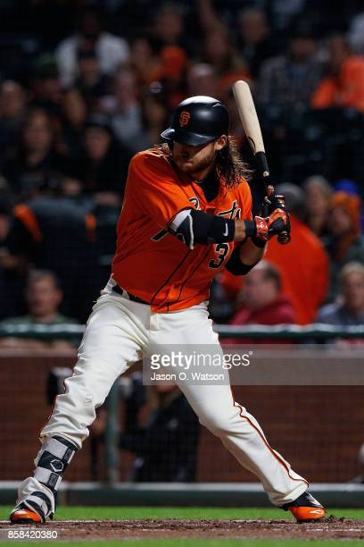 Brandon Crawford of the San Francisco Giants at bat against the San Diego Padres during the first inning at ATT Park on September 29 2017 in San...