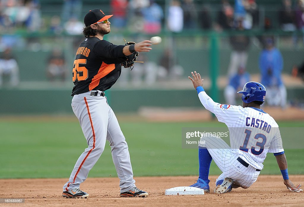 <a gi-track='captionPersonalityLinkClicked' href=/galleries/search?phrase=Brandon+Crawford&family=editorial&specificpeople=5580312 ng-click='$event.stopPropagation()'>Brandon Crawford</a> #35 of the San Francisco Giants attempts to turn a double play ahead of a sliding <a gi-track='captionPersonalityLinkClicked' href=/galleries/search?phrase=Starlin+Castro&family=editorial&specificpeople=5970945 ng-click='$event.stopPropagation()'>Starlin Castro</a> #13 of the Chicago Cubs at HoHoKam Park on February 24, 2013 in Mesa, Arizona.