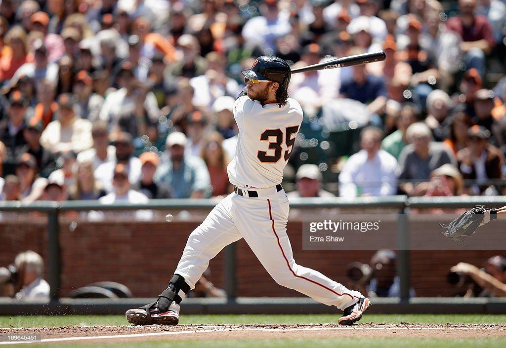 Brandon Crawford #35 of the San Francisco Giants bats against the Washington Nationals at AT&T Park on May 22, 2013 in San Francisco, California.