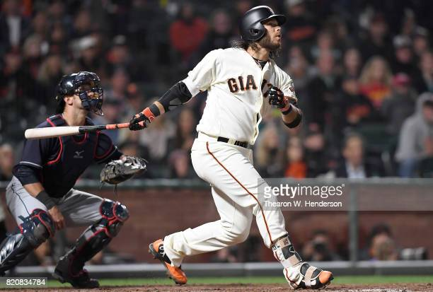 Brandon Crawford of the San Francisco Giants bats against the Cleveland Indians in the bottom of the ninth inning at ATT Park on July 18 2017 in San...