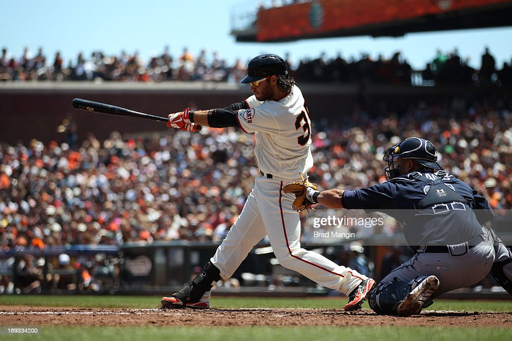 <a gi-track='captionPersonalityLinkClicked' href=/galleries/search?phrase=Brandon+Crawford&family=editorial&specificpeople=5580312 ng-click='$event.stopPropagation()'>Brandon Crawford</a> #35 of the San Francisco Giants bats during the game against the Atlanta Braves on Saturday, May 11, 2013 at AT&T Park in San Francisco, California.