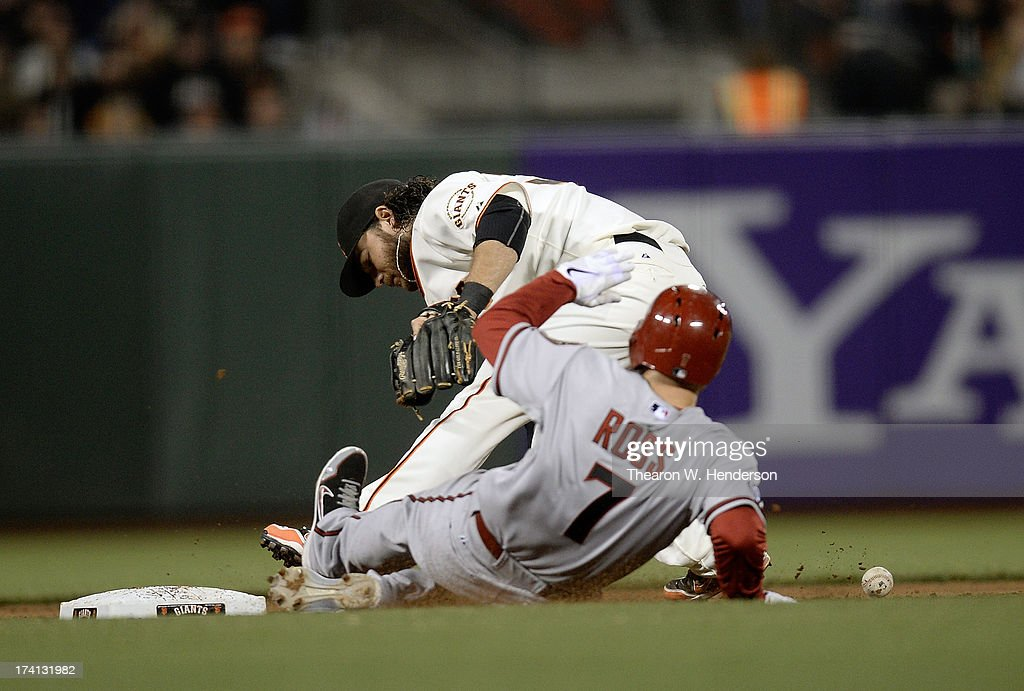 <a gi-track='captionPersonalityLinkClicked' href=/galleries/search?phrase=Brandon+Crawford&family=editorial&specificpeople=5580312 ng-click='$event.stopPropagation()'>Brandon Crawford</a> #35 of the San Francisco Giants can't field the ball cleanly, committing an error and allowing <a gi-track='captionPersonalityLinkClicked' href=/galleries/search?phrase=Cody+Ross&family=editorial&specificpeople=545810 ng-click='$event.stopPropagation()'>Cody Ross</a> #7 of the Arizona Diamondbacks to reach second base safely in the eighth inning at AT&T Park on July 20, 2013 in San Francisco, California.