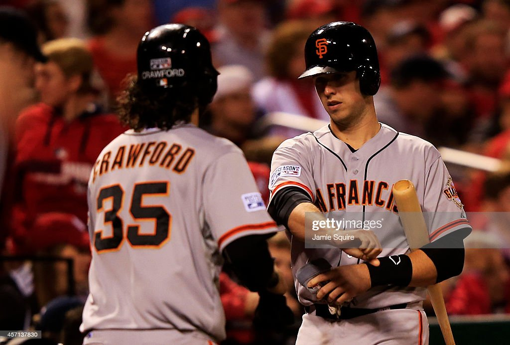 <a gi-track='captionPersonalityLinkClicked' href=/galleries/search?phrase=Brandon+Crawford&family=editorial&specificpeople=5580312 ng-click='$event.stopPropagation()'>Brandon Crawford</a> #35 of the San Francisco Giants celebrates with <a gi-track='captionPersonalityLinkClicked' href=/galleries/search?phrase=Buster+Posey&family=editorial&specificpeople=4896435 ng-click='$event.stopPropagation()'>Buster Posey</a> #28 after scoring on a single by Gregor Blanco #7 in the seventh inning against the St. Louis Cardinals during Game Two of the National League Championship Series at Busch Stadium on October 12, 2014 in St Louis, Missouri.