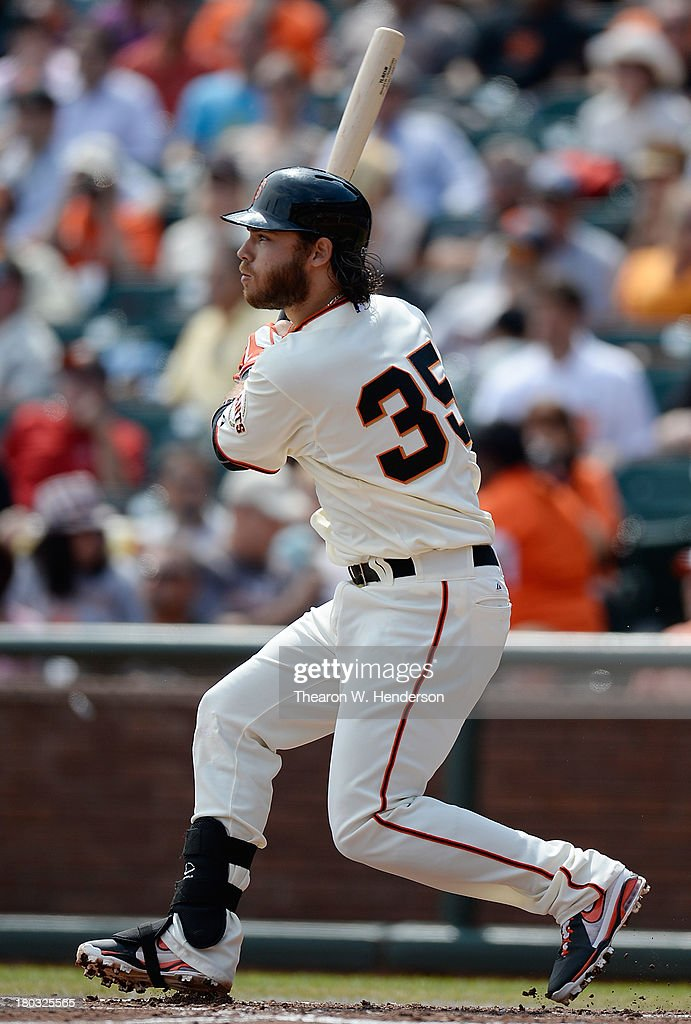 <a gi-track='captionPersonalityLinkClicked' href=/galleries/search?phrase=Brandon+Crawford&family=editorial&specificpeople=5580312 ng-click='$event.stopPropagation()'>Brandon Crawford</a> #35 of the San Francisco Giants hits a double during the second inning against the Colorado Rockies at AT&T Park on September 11, 2013 in San Francisco, California.
