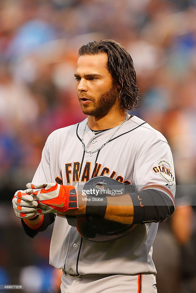 <a gi-track='captionPersonalityLinkClicked' href=/galleries/search?phrase=Brandon+Crawford&family=editorial&specificpeople=5580312 ng-click='$event.stopPropagation()'>Brandon Crawford</a> #35 of the San Francisco Giants in action against the New York Mets at Citi Field on August 1, 2014 in the Flushing neighborhood of the Queens borough of New York City. Giants defeated the Mets 5-1.