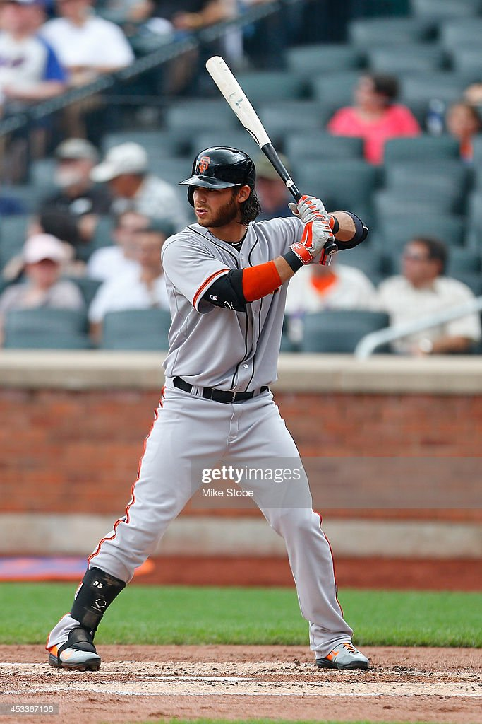 <a gi-track='captionPersonalityLinkClicked' href=/galleries/search?phrase=Brandon+Crawford&family=editorial&specificpeople=5580312 ng-click='$event.stopPropagation()'>Brandon Crawford</a> #35 of the San Francisco Giants in action against the New York Mets at Citi Field on August 4, 2014 in the Flushing neighborhood of the Queens borough of New York City. Giants defeated the Mets 4-3.
