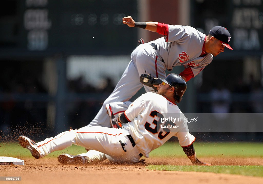 Brandon Crawford #35 of the San Francisco Giants is tagged out by <a gi-track='captionPersonalityLinkClicked' href=/galleries/search?phrase=Ian+Desmond&family=editorial&specificpeople=835572 ng-click='$event.stopPropagation()'>Ian Desmond</a> #6 of the Washington Nationals on an attempt to steal second base at AT&T Park on June 8, 2011 in San Francisco, California.