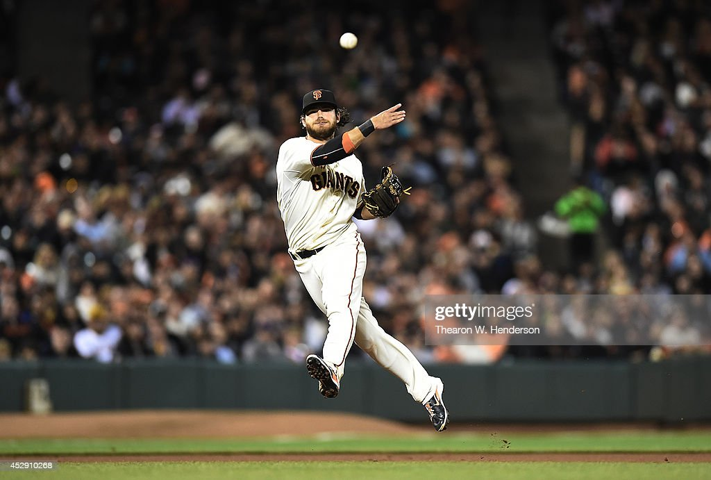 <a gi-track='captionPersonalityLinkClicked' href=/galleries/search?phrase=Brandon+Crawford&family=editorial&specificpeople=5580312 ng-click='$event.stopPropagation()'>Brandon Crawford</a> #35 of the San Francisco Giants makes an off balance throw to first base to get Gregory Polanco #25 of the Pittsburgh Pirates in the top of the eighth inning at AT&T Park on July 29, 2014 in San Francisco, California.