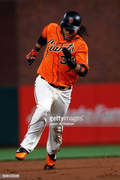 Brandon Crawford of the San Francisco Giants runs to third base against the San Diego Padres during the first inning at ATT Park on September 29 2017...