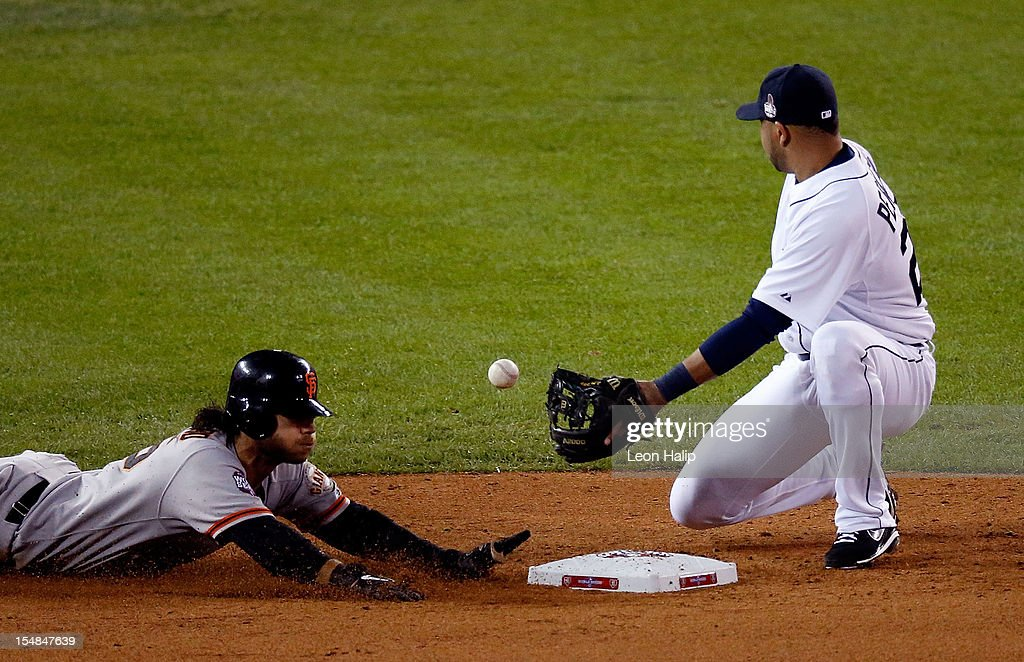 Brandon Crawford #35 of the San Francisco Giants steals second base against Jhonny Peralta #27 of the Detroit Tigers in the seventh inning during Game Three of the Major League Baseball World Series at Comerica Park on October 27, 2012 in Detroit, Michigan.