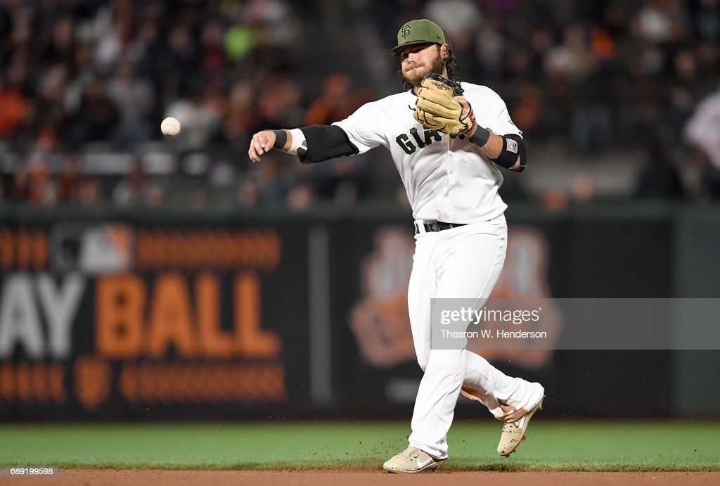 Brandon Crawford #35 of the San Francisco Giants throws out Matt Adams #18 of the Atlanta Braves at first base in the top of the eighth inning at AT&T Park on May 27, 2017 in San Francisco, California.