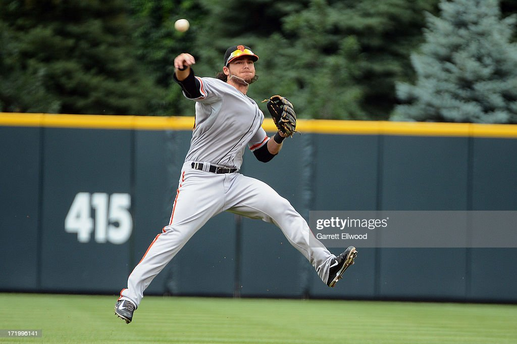 <a gi-track='captionPersonalityLinkClicked' href=/galleries/search?phrase=Brandon+Crawford&family=editorial&specificpeople=5580312 ng-click='$event.stopPropagation()'>Brandon Crawford</a> #35 of the San Francisco Giants throws to first base during the first inning of the game against the Colorado Rockies at Coors Field on June 30, 2013 in Denver, Colorado.
