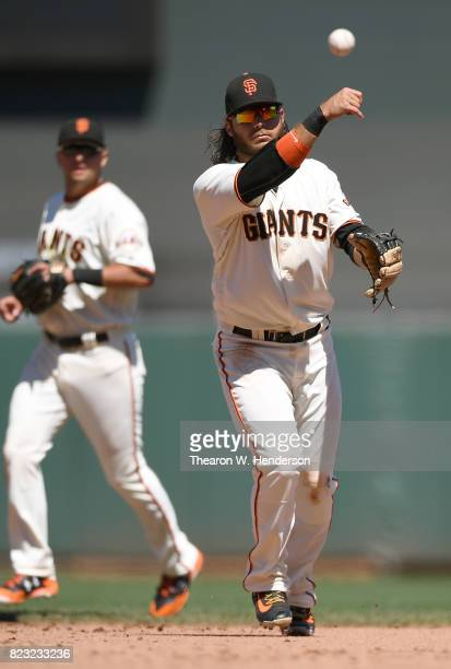 Brandon Crawford of the San Francisco Giants throws to first base throwing out John Jaso of the Pittsburgh Pirates in the top of the ninth inning at...