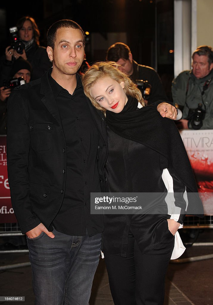 Brandon Cronenberg and <a gi-track='captionPersonalityLinkClicked' href=/galleries/search?phrase=Sarah+Gadon&family=editorial&specificpeople=6606524 ng-click='$event.stopPropagation()'>Sarah Gadon</a> attends the premiere of 'Antiviral' during the 56th BFI London Film Festival at Odeon West End on October 13, 2012 in London, England.
