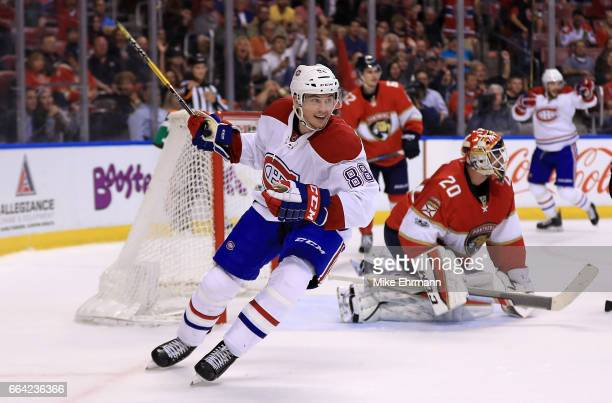 Brandon Davidson of the Montreal Canadiens reacts to a goal during a game against the Florida Panthers at BBT Center on April 3 2017 in Sunrise...